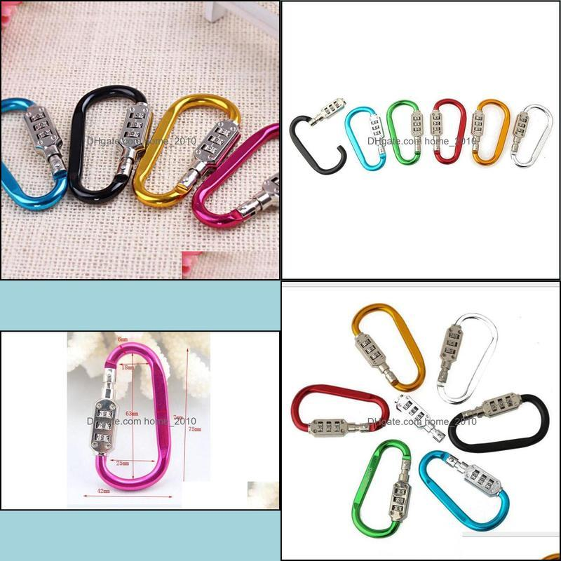 Small Code Password Lock Bottle Hook Buckle Alloy Carabiner Hanging Chain Camping Hiking Padlock Backpack Bag Parts ZC1841