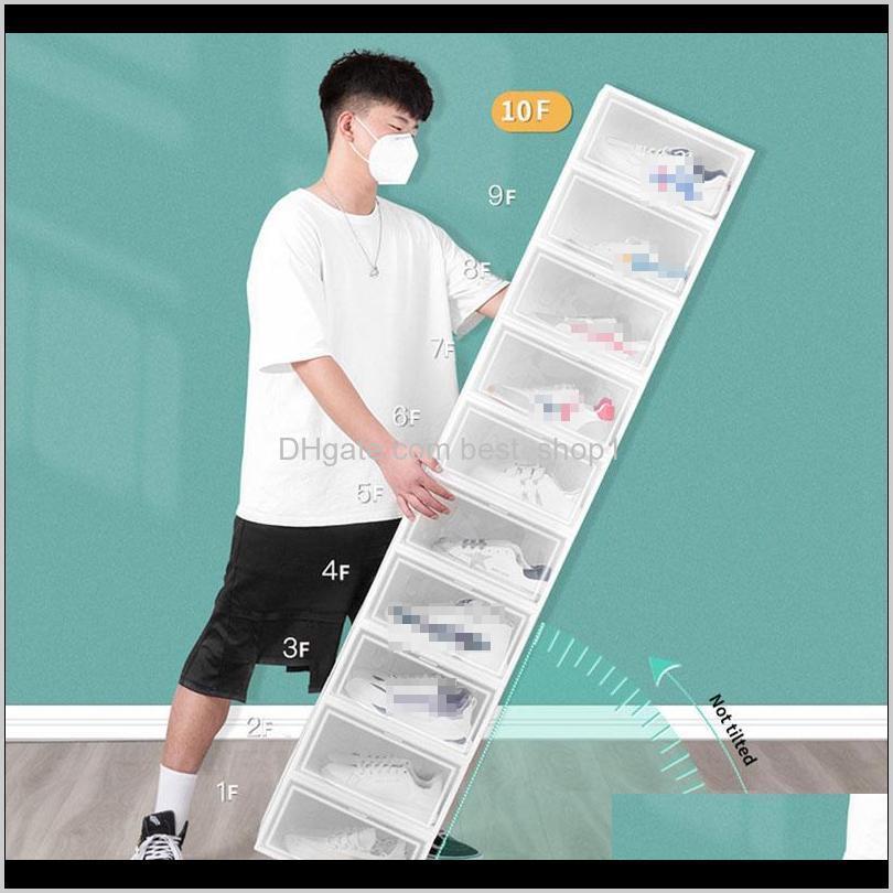 foldable plastic shoe box thicker dustproof flip stackable shoebox transparent drawer sort out shoes cabinet shoe organizer vt1865