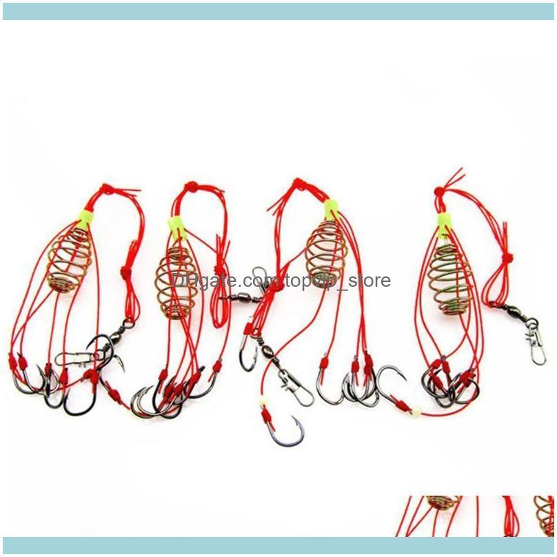 4Pcs/Lot Explosion Fishing Hook Lure Bait Trap Feeder Cage Sharp With Stainless Steel Springs Hooks