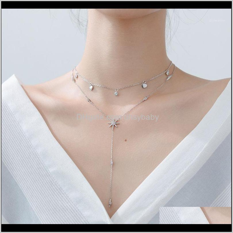 925 sterling silver fashion tassel necklaces for women sexy s925 clavicle necklace femme ladies jewelry sweater chain jewellery1