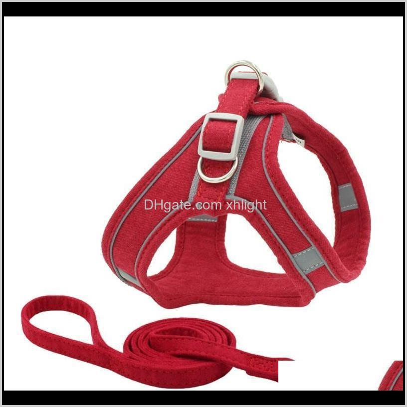 pet chest harness collar reflective and breathable dog leash safe walk in night,comfortable design drop collars & leashes