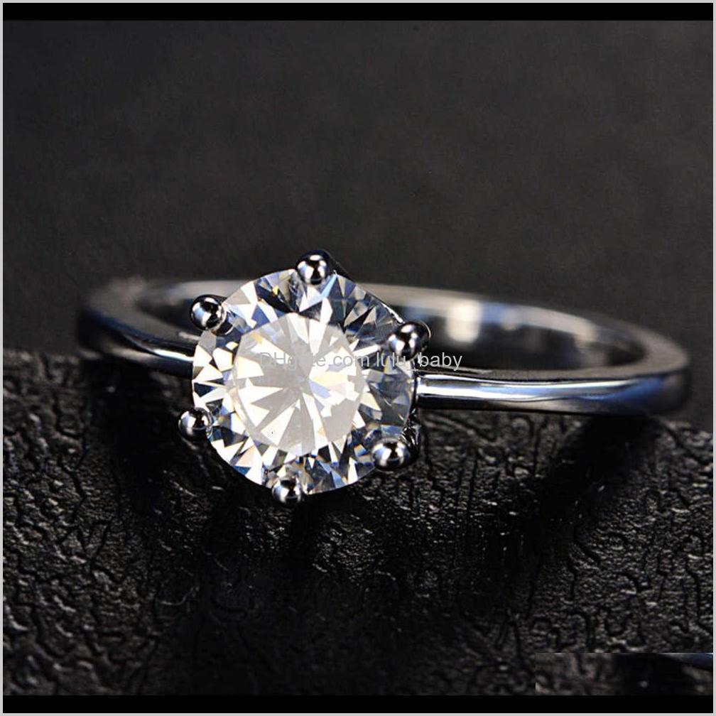 hbp fashion luxury new six claw set heart eight arrow color 3a zircon women`s super flash simulation diamond simple ring
