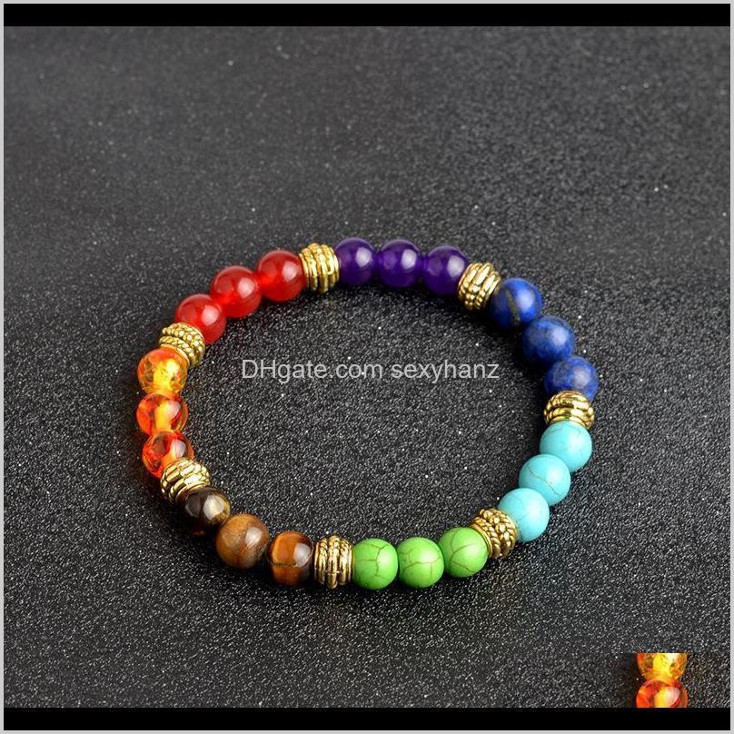 kimter 8mm yoga bead bracelets for men women 7 chakra healing natural stone elastic bracelet handmade gemstone bangle couple jewelry b366s