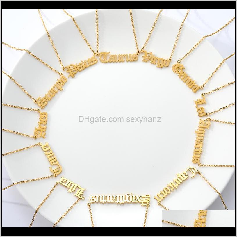 zodiac necklace virgo gemini gold horoscope necklace aquarius cancer leo stainless steel capricorn constellation