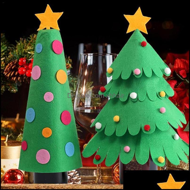 Christmas Decorations Waasoscon Wine Bottle Cover Trees Shape Ornaments For Table Decoration Supplies