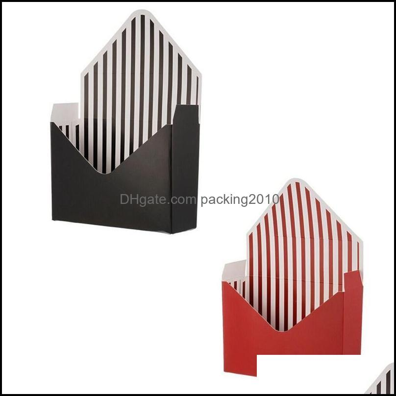 Pcs Envelope Fold Flower Box Paper Floral Wrapping Party Wedding Gift Boxes-Wine Red & Black Wrap