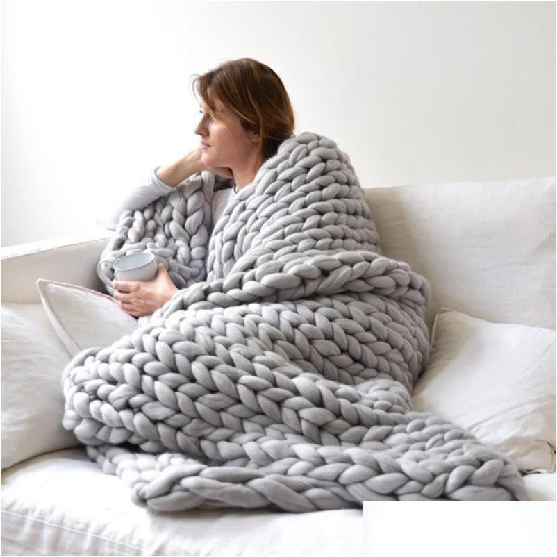 hot winter handmade knitting soft warm thick yarn knitted blanket home bed decor