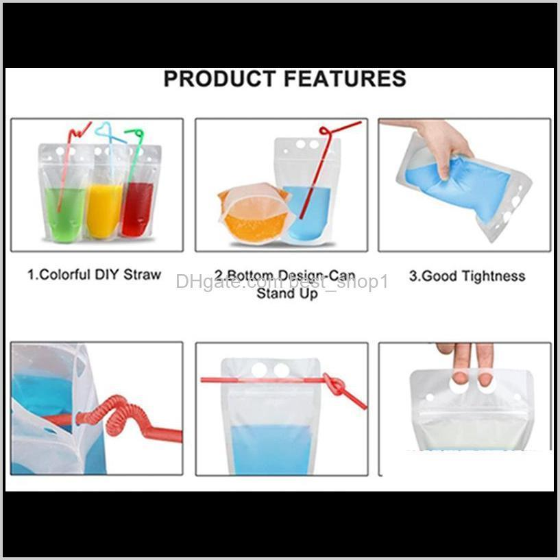 clear matte drink bag pouches with straw heavy duty hand-held translucent reclosable zipper plastic pouches drink bags iia393