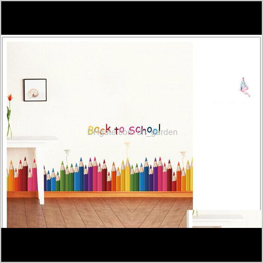 cartoon colour pencil baseboard wall stickers for kids rooms nursery decoration living room bedroom mural art decal home decor