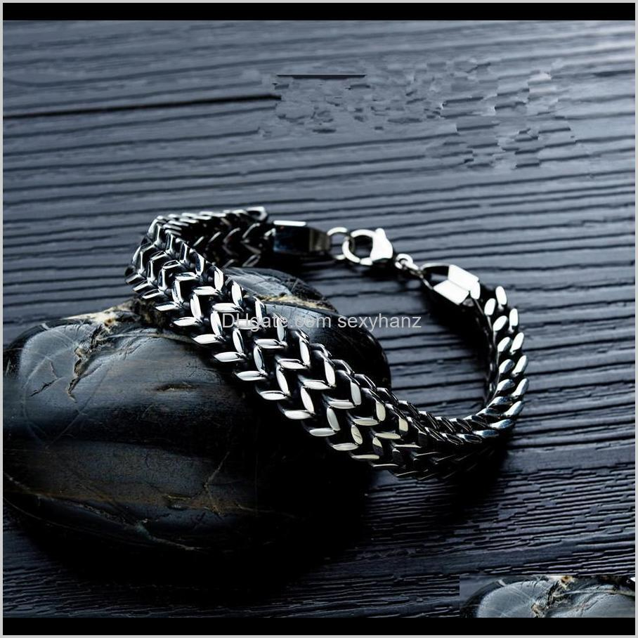fashion mens stainless steel chunky chain link bracelet jewelry men hip hop new design double-layer vintage fish scale bracelets for