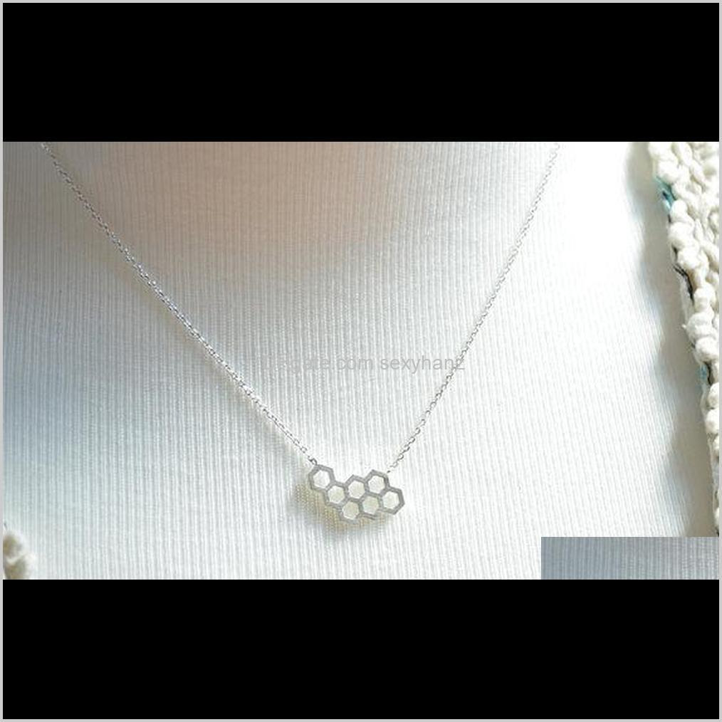 10pcs- n046 gold silver honey comb bee hive necklace cute honeycomb necklace beehive necklaces hexagon necklace