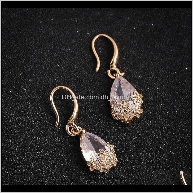 hot drop-shaped zircon gold-color hook drop earrings for women flowers hollow crystal dangle earrings fashion jewelry