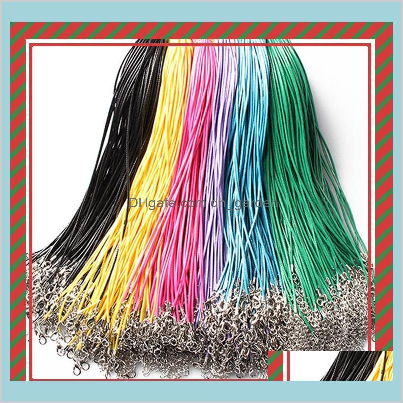14 colors 50cm wax leather necklace beading cord string rope wire with lobster clasp necklace bracelets diy jewelry findings cheap