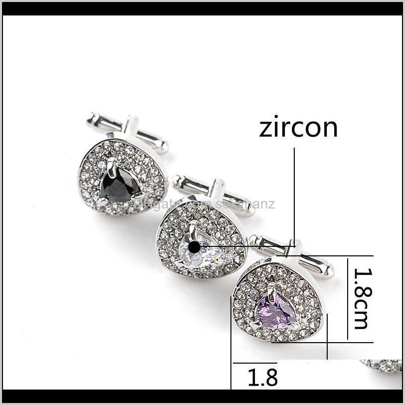 men`s formal business shirt zircon diamond cufflinks fashion wedding party cuff links button fashion jewelry will and sandy new