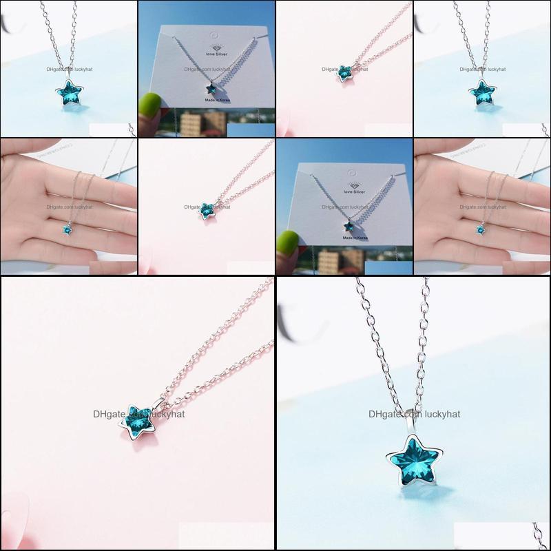 Design Fashion Eternity Bague Sky-blue Star Pendant Necklace Silver Color CZ Austrian Crystal Big Promotions Trendy Gift