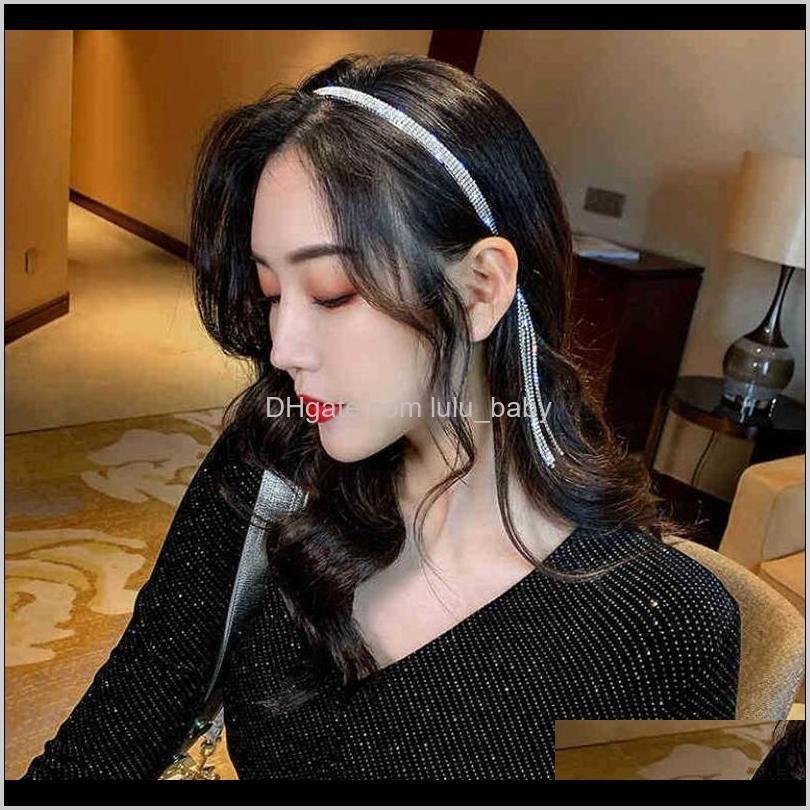 luxury rhinestone hairbands tassel headband for women elegant hair hoop shinny party wedding sweet girls accesories