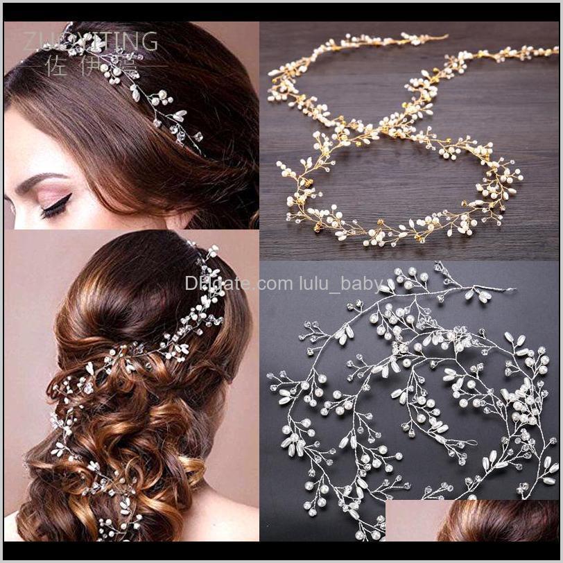 pearl crystal wedding hair vine crystal bridal accessories diamante headband news romantic women hair jewelry beauty