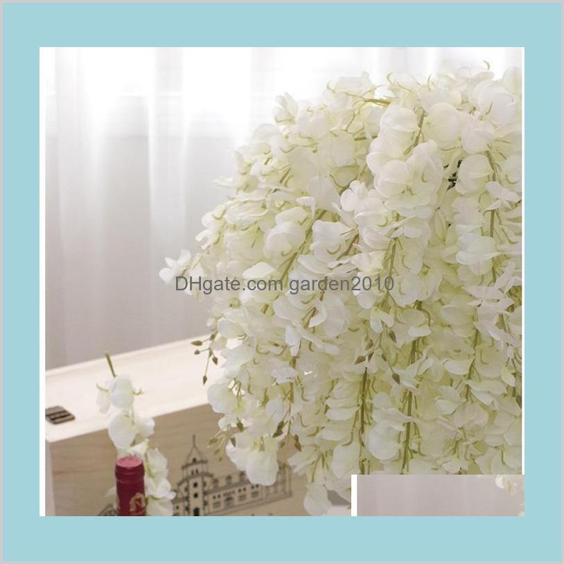 DIY Artificial White Wisteria Silk Flower