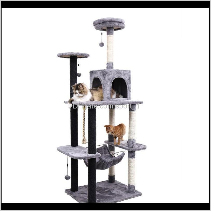 fast shipping pet cat tree tower toy scratching posts for cat wood climbing tree jumping furniture house condo nest 9xrh#