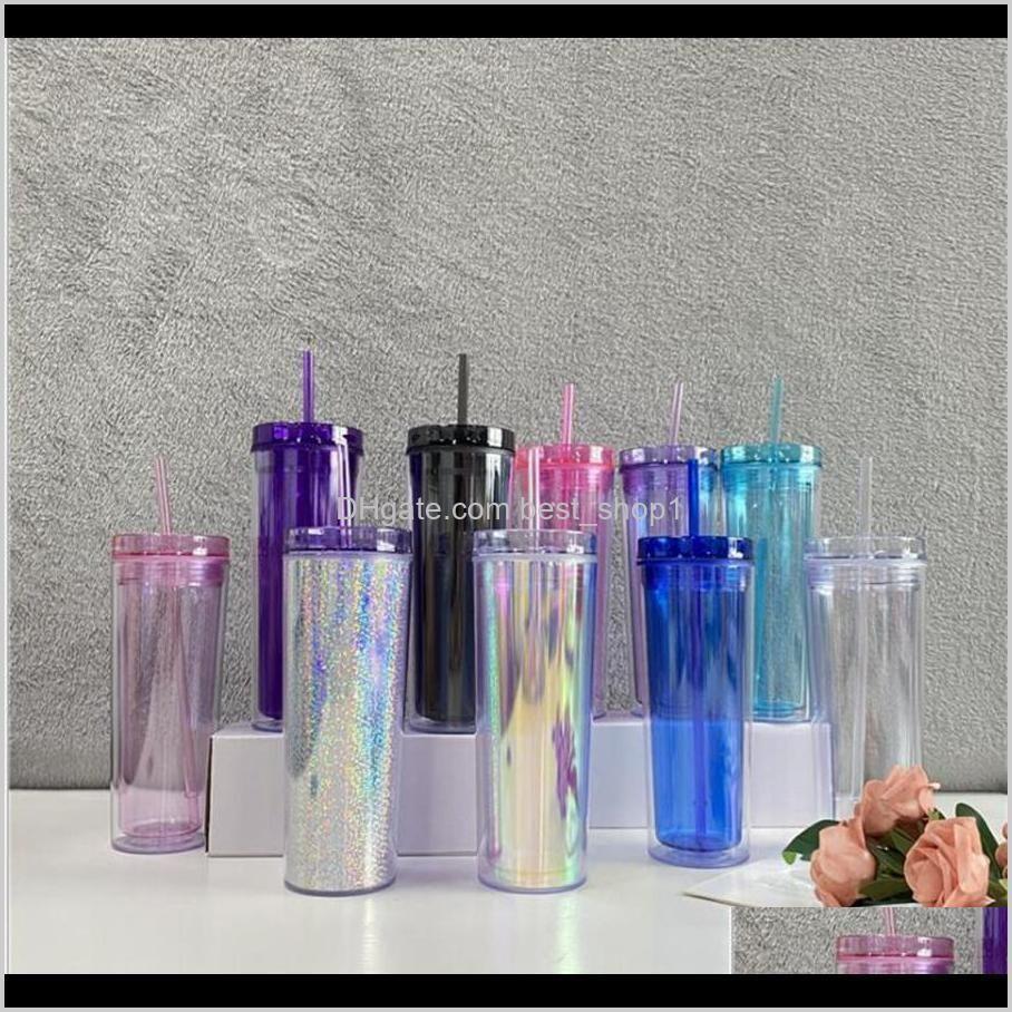 colorful plastic skinny tumblers 20oz double wall transparent straw cups travel cofe vacuum temperature tumblers mug dda386