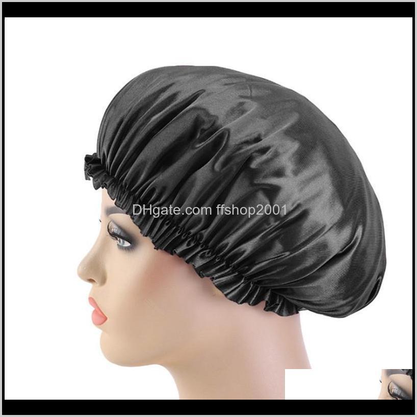 new fashion women satin night sleep cap hair bonnet hat silk head cover elastic band nightcap bath spa bonnet de nuit