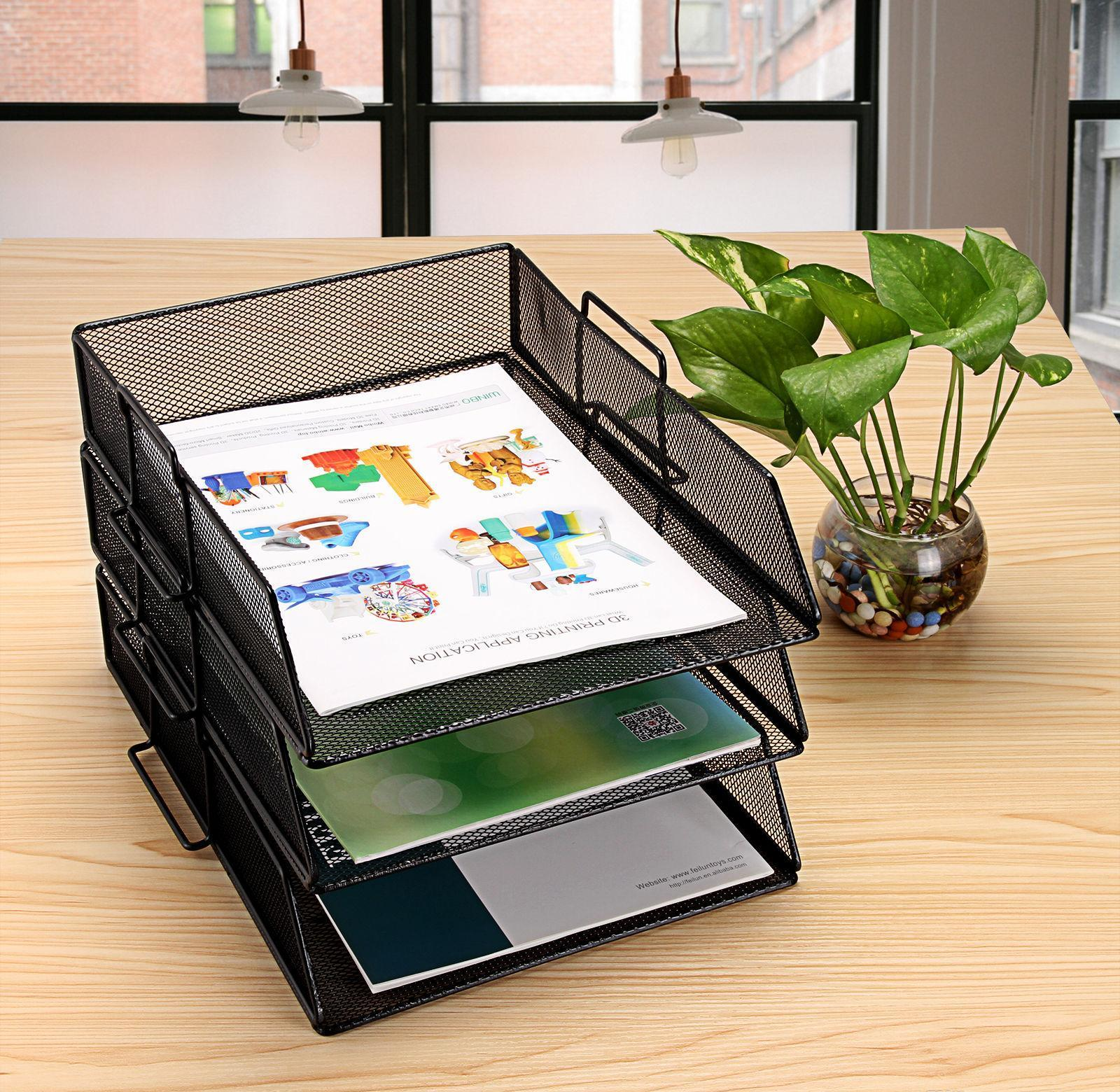 black one-compartment metal mesh desktop file sorter desk tray organizer