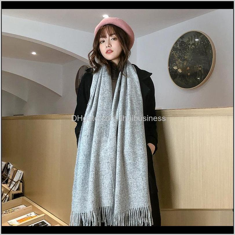 sydney with solid color clip scarf in autumn / winter female korean cashmere thickened warm decoration dual-purpose shawl scarf