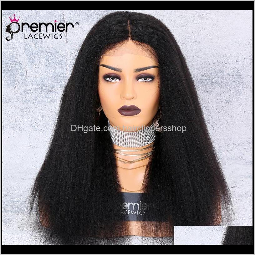 premier lace wig silk base middle part kinky straight 130% density 100 brazilian remy hair wigs