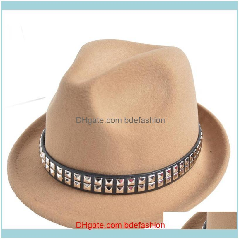By Rivet Men Women Wool Fedora Hats Soft Dance Party Wedding Stingy Brim Caps Adult Street Top Hats Jazz Cap GH-65