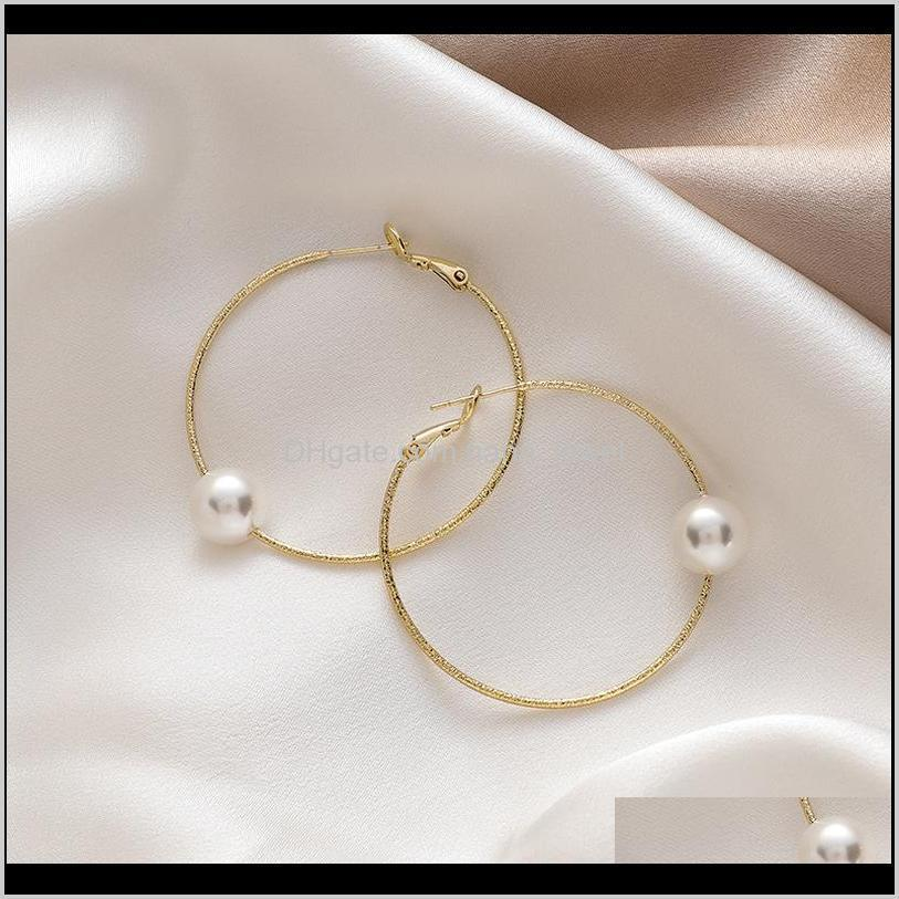 minimalist simulated pearl hollow out metal big earrings gold color alloy hoop earrings for women statement party jewelry gift