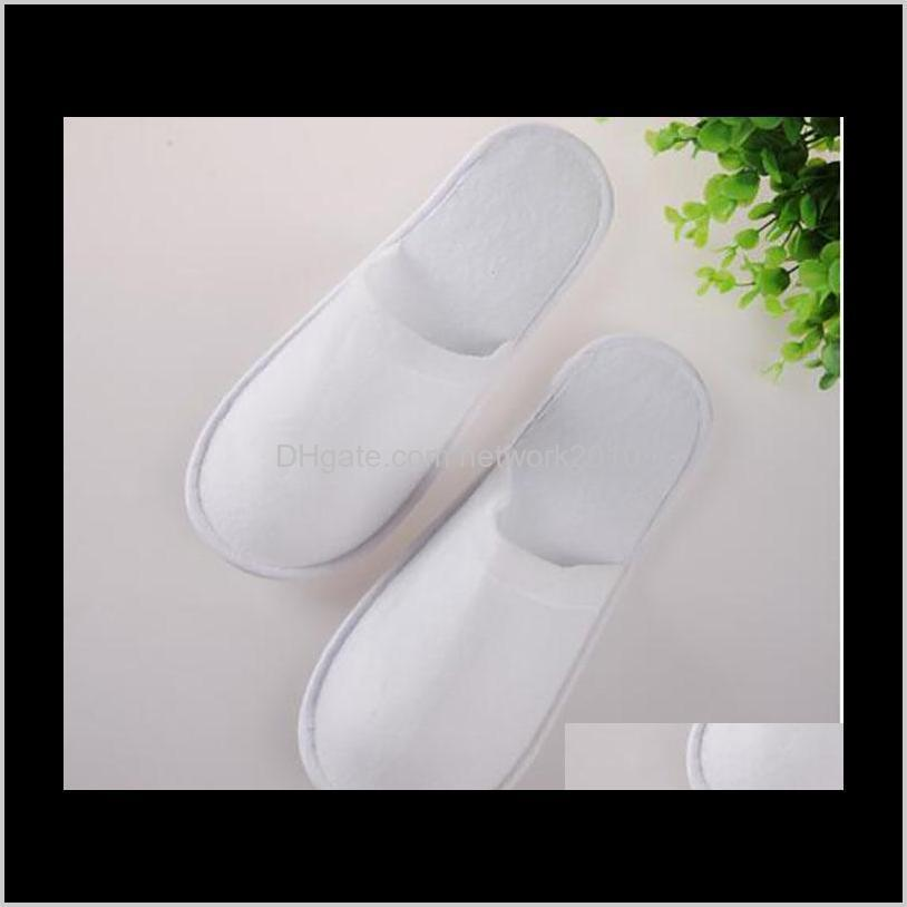 wholesale disposable hotel towelling slippers with eva sole, closed toe travel spa guest shoes 50 pairs