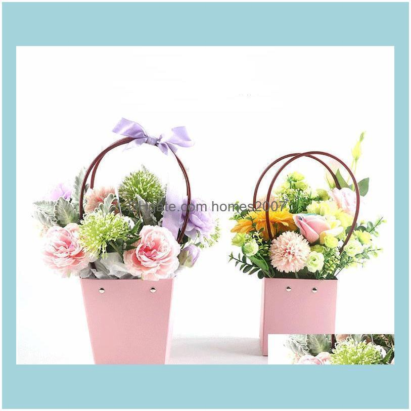 Kraft Paper Bag DIY Valentine`s Day Flower Wrapping Box Gift Packing Box Bouquet Florist Supplies Wedding Decoration SN3683