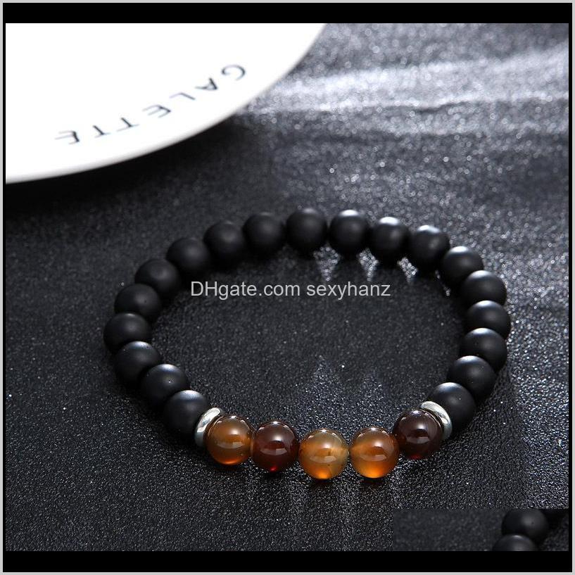 2 pcs/set matte black bead bracelet set women men fashion lucky buddha prayer beads bracelets couple jewelry accessories gift kimter-d418s
