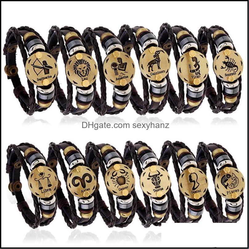 Vintage Genuine Leather 12 Constellations Charm Bracelets Men`s zodiac Braided Rope Wrap adjustable Bangle For women Punk DIY Jewelry