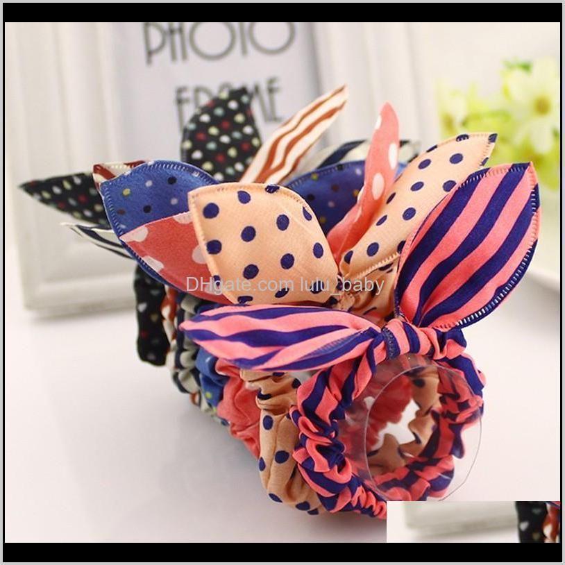 new 10pcs/lot mix style clips for hairband polka dot leopard trip hair rope rabbit ears headwear hair tie girl hair accessories
