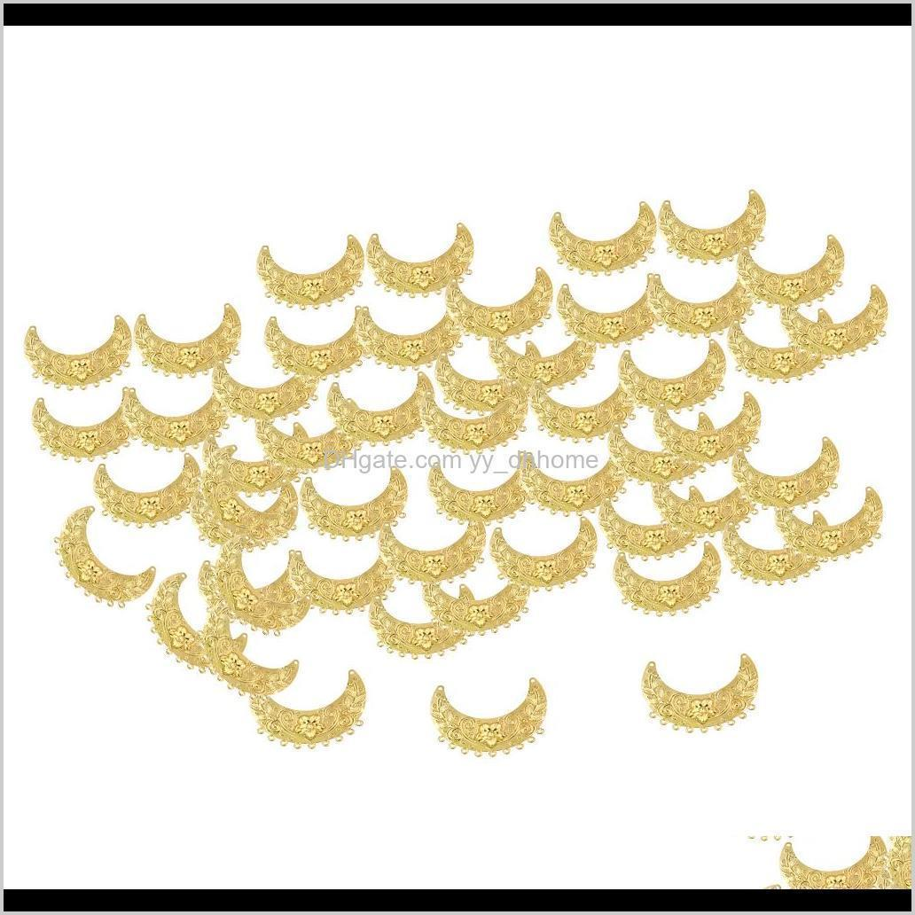 50pcs bead end caps crescent shape for jewelry making, hollow pendants crafts charms tags hairpin antique tassel hair clasp material