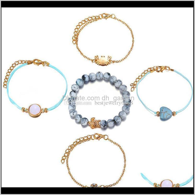 new fashion gold link bracelets for women round zircon crab turtle gemstone charm bracelet for women bohemian jewelry beads bracelet