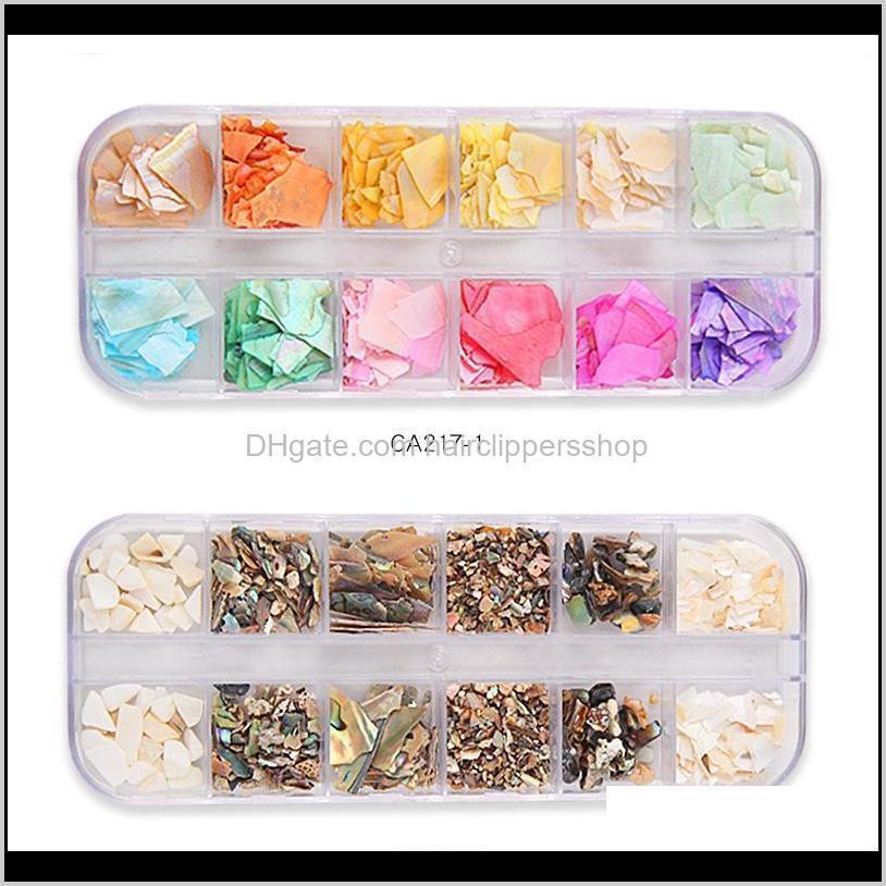 1 box 12-color nails abalone shell fragments natural shell stone manicure nail mermaid glitter flakes sparkly nail art w