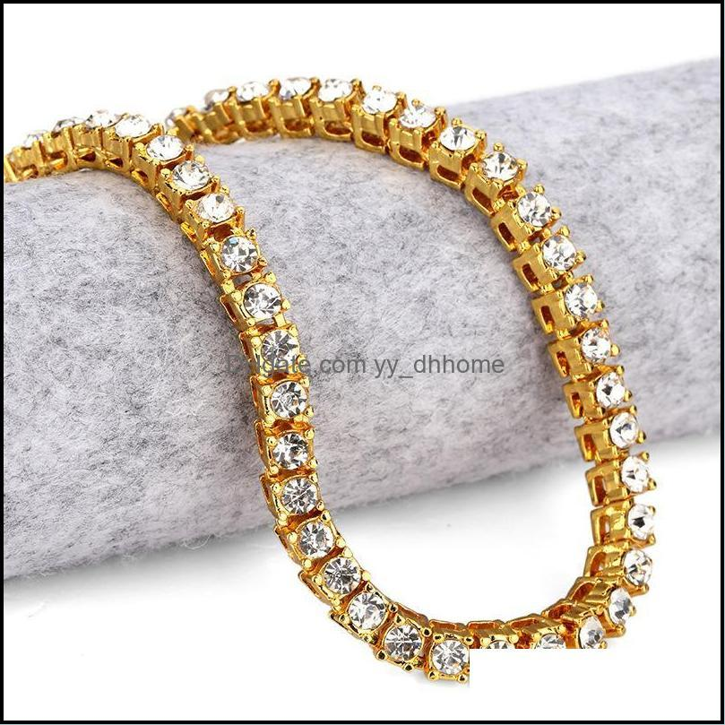 Good Quality 5MM Fully Rhinestone Chains Golden Silver Black Hip Hop Bling Chain Necklace Men Chunky Jewelry With Gift Box