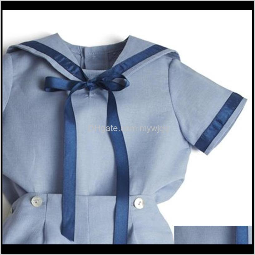 baby boutique clothing set boy summer clothes suit spanish infant navy cotton shirt pants toddler boy birthday party outfit 210226 540