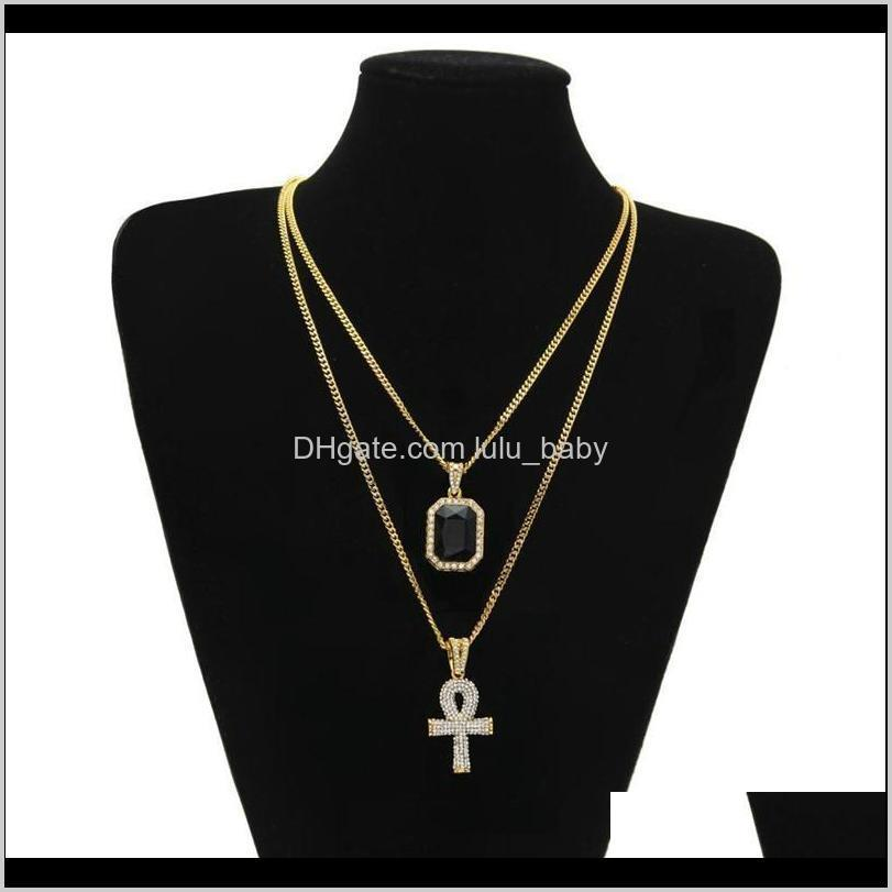 men s egyptian ankh key of life necklace set bling iced out cross mini gemstone pendant gold silver chain for women hip hop jewelry