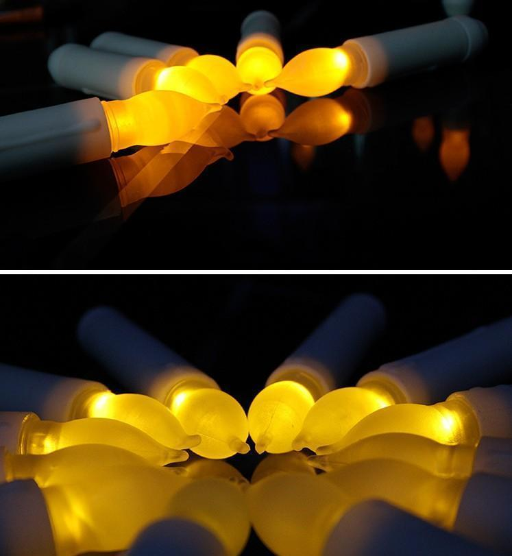 yellow mini battery operated led taper candles, flameless taper candles for wedding decorations,christmas, thanksgiving -batteries not
