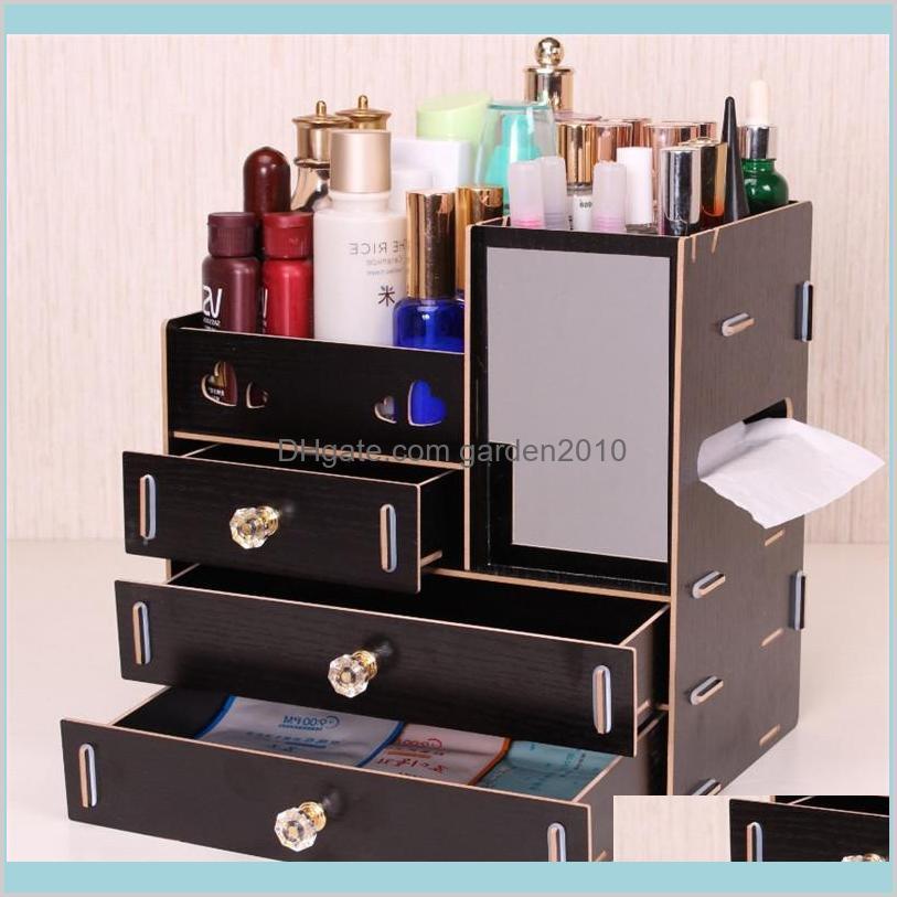 Junejour DIY Wooden Storage Box Makeup