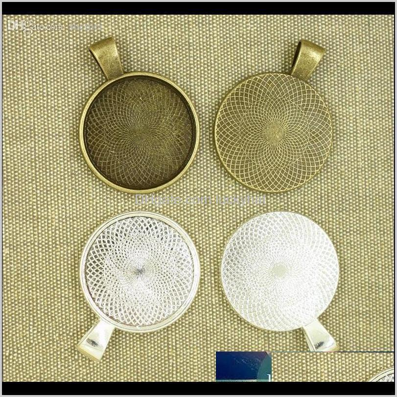 wholesale-10pcs 25mm silver plate necklace pendant setting cabochon cameo base tray bezel blank fit 25mm cabochons jewelry making