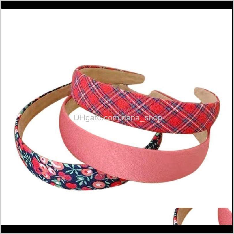 3pcs women wide headband vintage floral plaid solid bandana vacation hair hoop