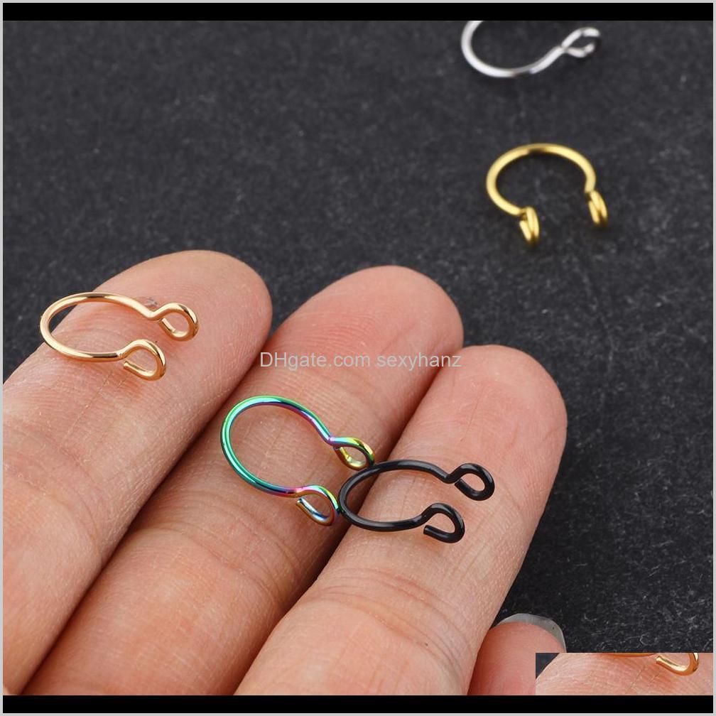 stainless steel nose rings fake septum rings hoop nostril piercing tragus earring body piercings jewelry 100pcs 5 color