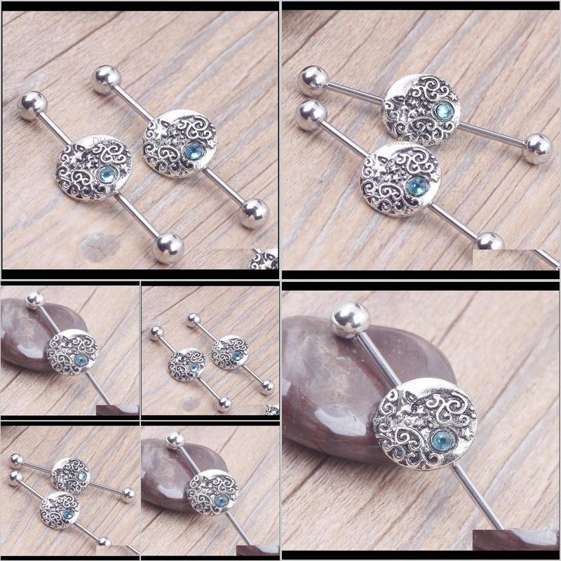 1.6*38*6mm fashion 14g moon star long industrial barbell 316l stainless steel earring body ear piercing jewelry