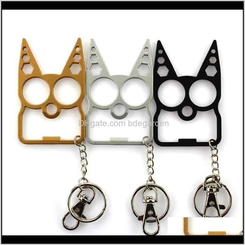 portable cute cat bottle opener screwdriver keychain cat head self-defense multifunction outdoor gadgets bag keychain 100pcs