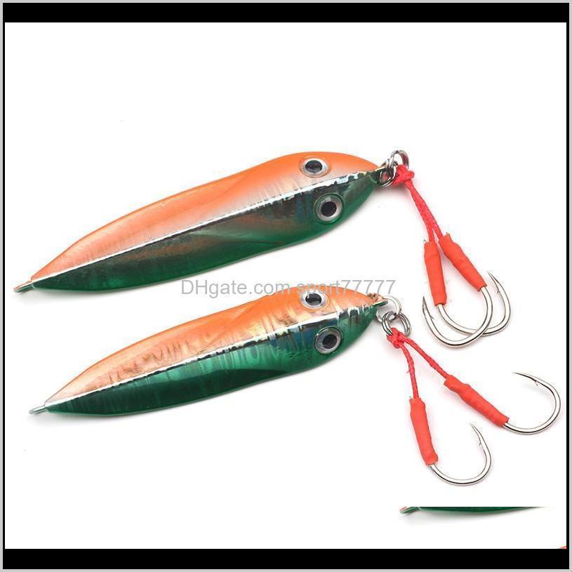 rompin new design sea bass fishing lure metal jig spoon 32g/41g artificial bait shore fishing jigging super hard lead fish bait