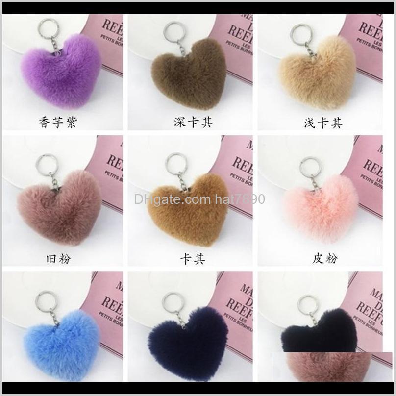 2019 Faux Soft Keyrings Rabbit Pom Pom Heart Keychain Alloy Key Ring Fluffy Fur Ball Keychains Women Bag Cell Phone Car Charm Pendant 207